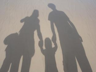遊園地帰りの家族